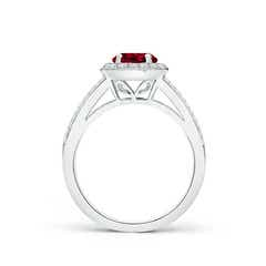 Toggle Round Garnet Split Shank Ring with Diamond Halo