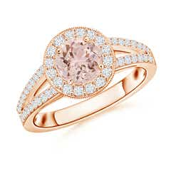 Round Morganite Split Shank Ring with Diamond Halo