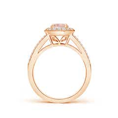 Toggle Round Morganite Split Shank Ring with Diamond Halo