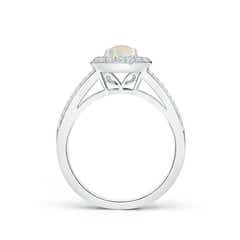 Toggle Round Opal Split Shank Ring with Diamond Halo