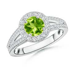 Round Peridot Split Shank Ring with Diamond Halo