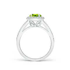 Toggle Round Peridot Split Shank Ring with Diamond Halo
