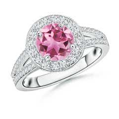 Round Pink Tourmaline Split Shank Ring with Diamond Halo