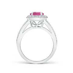 Toggle Round Pink Tourmaline Split Shank Ring with Diamond Halo