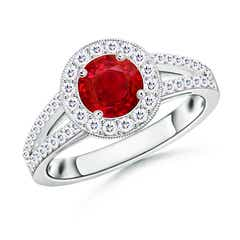 Round Ruby Split Shank Ring with Diamond Halo