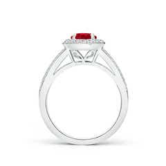 Toggle Round Ruby Split Shank Ring with Diamond Halo