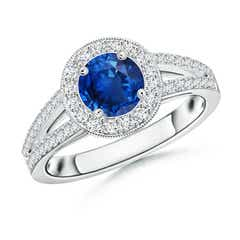 Round Blue Sapphire Split Shank Ring with Diamond Halo