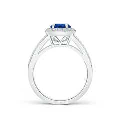 Toggle Round Blue Sapphire Split Shank Ring with Diamond Halo