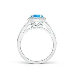 Toggle Round Swiss Blue Topaz Split Shank Ring with Diamond Halo