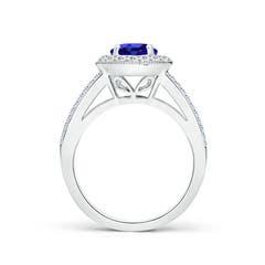 Toggle Round Tanzanite Split Shank Ring with Diamond Halo