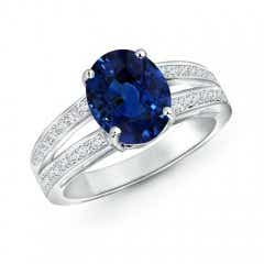 Solitaire GIA Certified Oval Sapphire Split Shank Ring