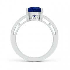 Toggle Solitaire GIA Certified Oval Sapphire Split Shank Ring