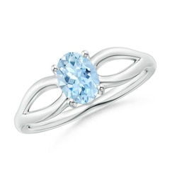 Prong-Set Solitaire Aquamarine Split Shank Ring
