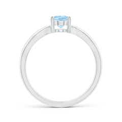 Toggle Prong-Set Solitaire Aquamarine Split Shank Ring