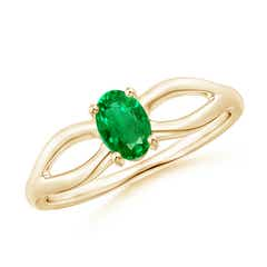 Prong-Set Solitaire Emerald Split Shank Ring