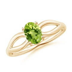 Prong-Set Solitaire Peridot Split Shank Ring