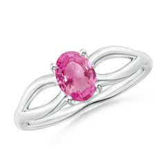 Prong-Set Solitaire Pink Sapphire Split Shank Ring