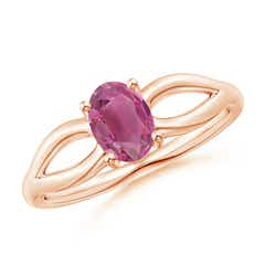 Angara Four Prong 3-Stone Oval Pink Tourmaline and Diamond Ring in Rose Gold IgrSoDDgL