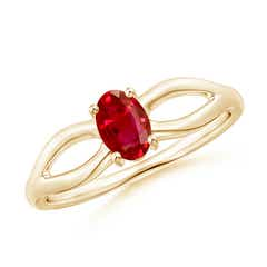 Prong-Set Solitaire Ruby Split Shank Ring