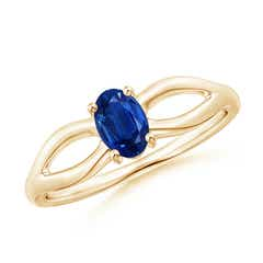 Prong-Set Solitaire Blue Sapphire Split Shank Ring