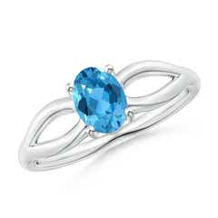 Prong-Set Solitaire Swiss Blue Topaz Split Shank Ring