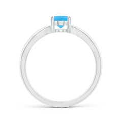 Toggle Prong-Set Solitaire Swiss Blue Topaz Split Shank Ring