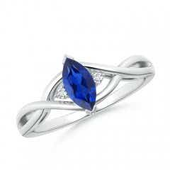 Twisted Shank Marquise Cut Sapphire and Diamond Ring