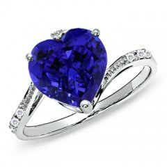 GIA Certified Heart Tanzanite Solitaire Bypass Ring