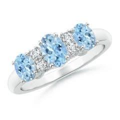 Oval Three Stone Aquamarine Engagement Ring with Diamonds