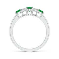 Toggle Oval Three Stone Emerald Engagement Ring with Diamonds