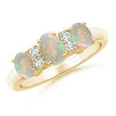 Oval Three Stone Opal Engagement Ring with Diamonds