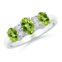 Oval Three Stone Peridot Engagement Ring with Diamonds
