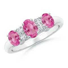 Oval Three Stone Pink Sapphire Engagement Ring with Diamonds