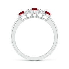 Toggle Oval Three Stone Ruby Engagement Ring with Diamonds
