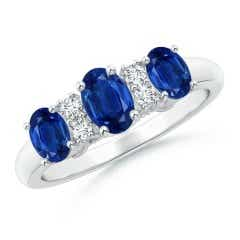 Oval Three Stone Sapphire Engagement Ring with Diamonds