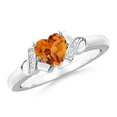 Solitaire Citrine Heart Ring with Diamond Accents