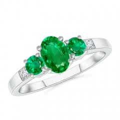 Three Stone Emerald Engagement Ring with Diamond Accents