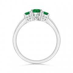 Toggle Three Stone Emerald Engagement Ring with Diamond Accents