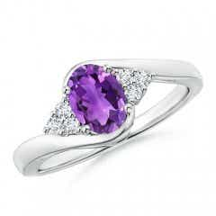 Oval Amethyst Bypass Ring with Trio Diamond Accents