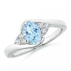 Oval Aquamarine Bypass Ring with Trio Diamond Accents