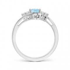Toggle Oval Aquamarine Bypass Ring with Trio Diamond Accents