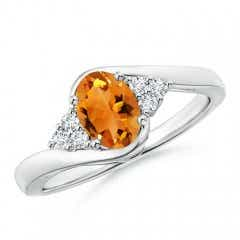 Oval Citrine Bypass Ring with Trio Diamond Accents