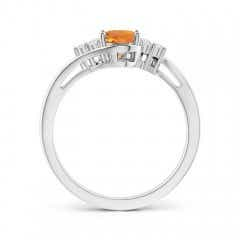 Toggle Oval Citrine Bypass Ring with Trio Diamond Accents