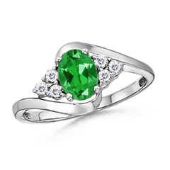 Oval Lab Created Emerald Bypass Ring with Diamond