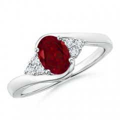 Oval Garnet Bypass Ring with Trio Diamond Accents