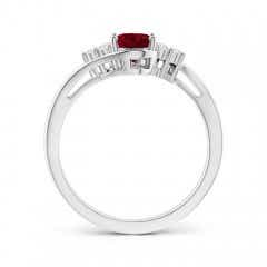 Toggle Oval Garnet Bypass Ring with Trio Diamond Accents