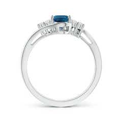 Toggle Oval London Blue Topaz Bypass Ring with Trio Diamonds