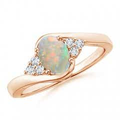 Oval Opal Bypass Ring with Trio Diamond Accents