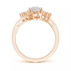 Toggle Oval Opal Bypass Ring with Trio Diamond Accents