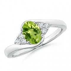 Oval Peridot Bypass Ring with Trio Diamond Accents